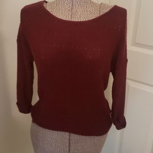 Vintage pink rose women's sweater cranberry sz L